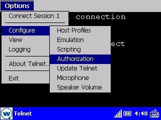 Menu Configure del Telnet