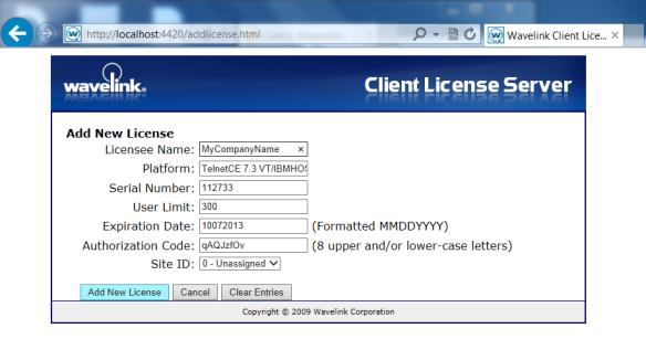 Figure 2, Añadiendo licencias Telnet en el Despachador