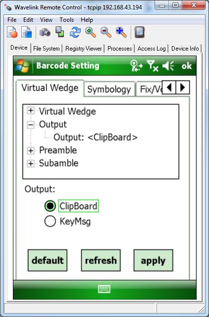 Configuracion de la salida del código escaneado: memoria o cursor.